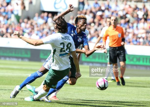 Da Costa Joiao 29 and Subotic Neven 28 during the French L1 football match between Strasbourg and SaintEtienne on August 19 2018 at the Meinau...