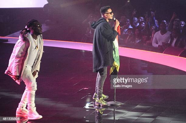 AKA Da Les and Burna Boy performs during the 2015 MTV Africa Music Awards on July 182015 at the Durban International Conference Centre in DurbanSouth...