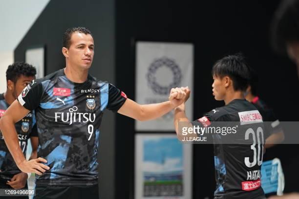 Da Silva dos San of Kawasaki Frontaletos elbow bump prior to the J.League Meiji Yasuda J1 match between Kawasaki Frontale and Shimizu S-Pulse at the...
