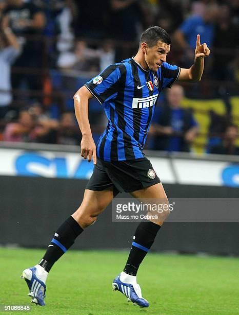 Da Silva Ferreira Lucimar Lucio of FC Inter Milan celebrates scoring his team's third goal during the Serie A match between FC Inter Milan and SSC...