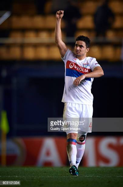 Da Silva Rafael of Olympique Lyon celebrates the victory during UEFA Europa League Round of 32 match between Villarreal and Olympique Lyon at the...