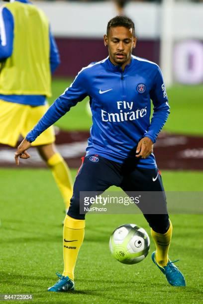 Da Silva Santos Junior Neymar during warm up prior to the French L1 football match between Metz and Paris SaintGermain on September 8 2017 at the...