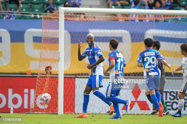 Da Silva Silveira of V-Varen Nagasaki celebrates scoring his side's second/third goal during the J.League Meiji Yasuda J2 match between V-Varen...