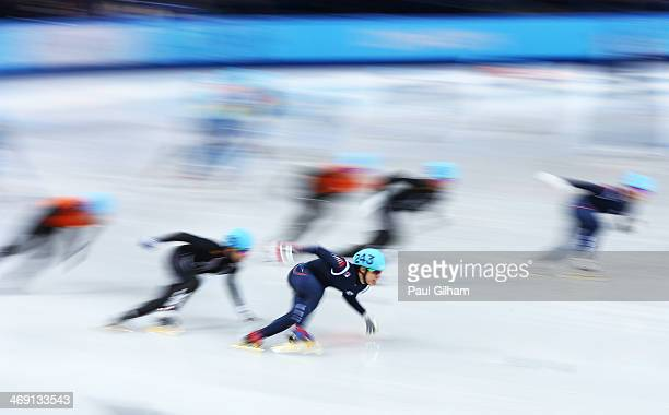 Da Woon Sin of South Korea competes in the Short Track Speed Skating Men's 5000m Relay Semifinal on day 6 of the Sochi 2014 Winter Olympics at at...
