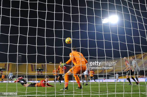Daam Foulon of Benevento Calcio scores an own goal past teammate Lorenzo Montipo, the second goal for Hellas Verona FC during the Serie A match...
