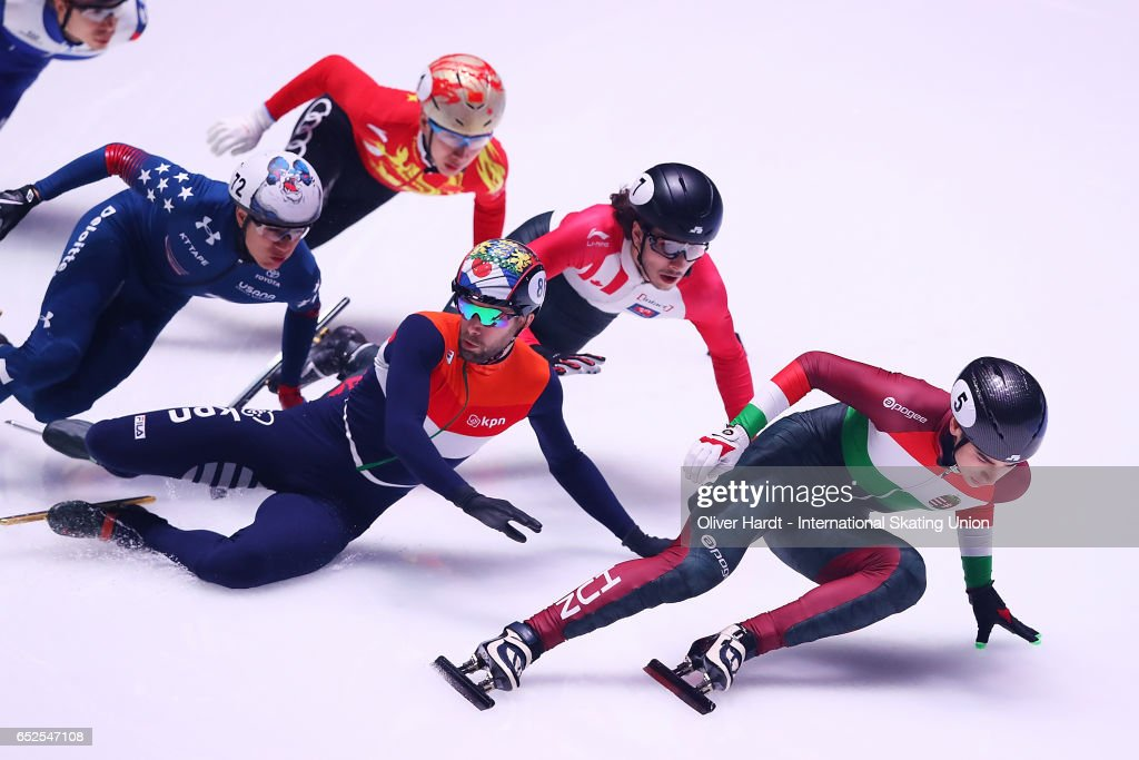 Daan Breeuwsma (L) of Netherlands and Shaoang Liu (R) of Hungary competes in the Mens 1000m semi finals race during day two of ISU World Short Track Championships at Rotterdam Ahoy Arena on March 12, 2017 in Rotterdam, Netherlands.
