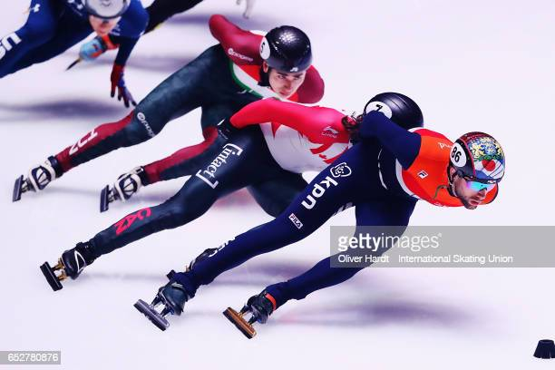 Daan Breeuwsma of Netherlands competes in the Men«s 1000m quarter finals race during day two of ISU World Short Track Championships at Rotterdam Ahoy...