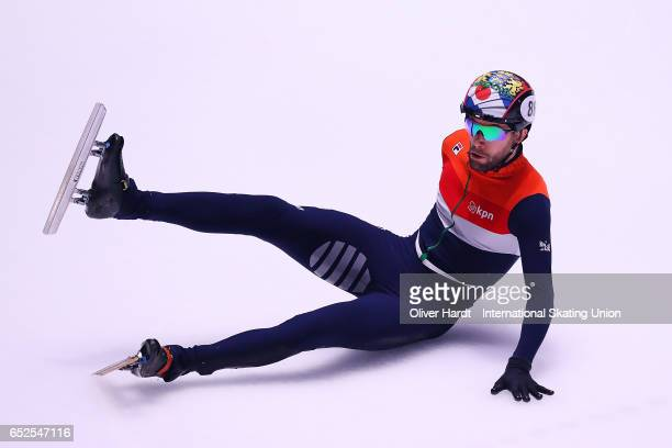 Daan Breeuwsma of Netherlands competes in the Mens 1000m semi finals race during day two of ISU World Short Track Championships at Rotterdam Ahoy...