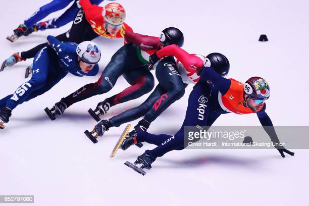 Daan Breeuwsma of Netherlands competes in the Men«s 1000m semi finals race during day two of ISU World Short Track Championships at Rotterdam Ahoy...