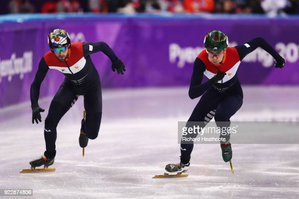 Daan Breeuwsma of the Netherlands and Dylan Hoogerwerf of the Netherlands skate in their Men's 500m Short Track Speed Skating Quarter Final on day...