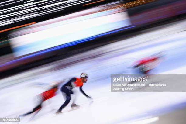 Daan Breeuwsma of the Netherlands competes in the Mens 5000m Relay Final Gold medal during the Audi ISU World Cup Short Track Speed Skating at...
