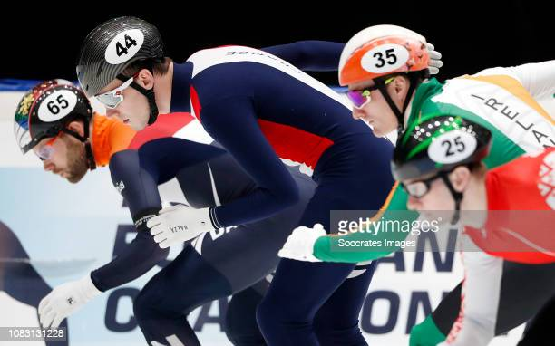 Daan Breeuwsma of The Netherlands Dmitry Migunov of France Ryan McAnuff of Ireland during the ISU European Championship Shorttrack at the...