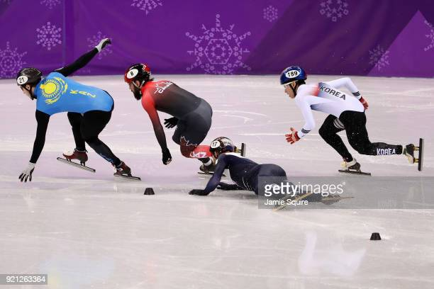 Daan Breeuwsma of the Netherlands falls during the Men's Short Track Speed Skating 500m Heats on day eleven of the PyeongChang 2018 Winter Olympic...