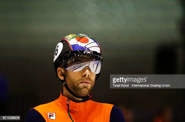 Daan Breeuwsma of the Netherlands gets ready for the men's 500 meter semi final during the ISU World Cup Short Track Speed Skating event November 6...