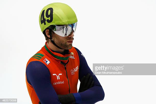 Daan Breeuwsma of the Netherlands gets ready to compete in the Mens 1500m semi final during day 2 of the ISU European Short Track Speed Skating...