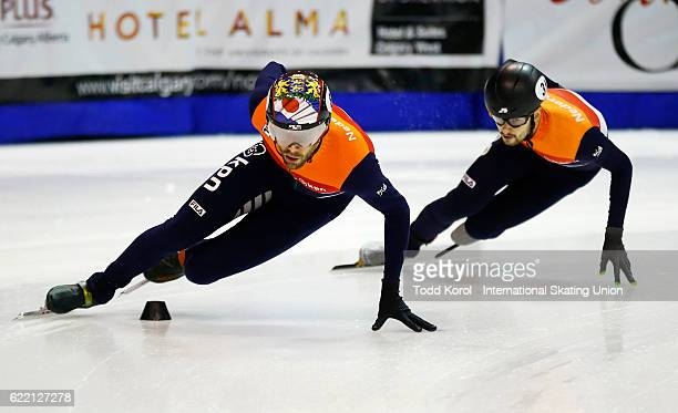Daan Breeuwsma of the Netherlands leads teammate Itzhak de Laat in the men's 500 meter semi final during the ISU World Cup Short Track Speed Skating...
