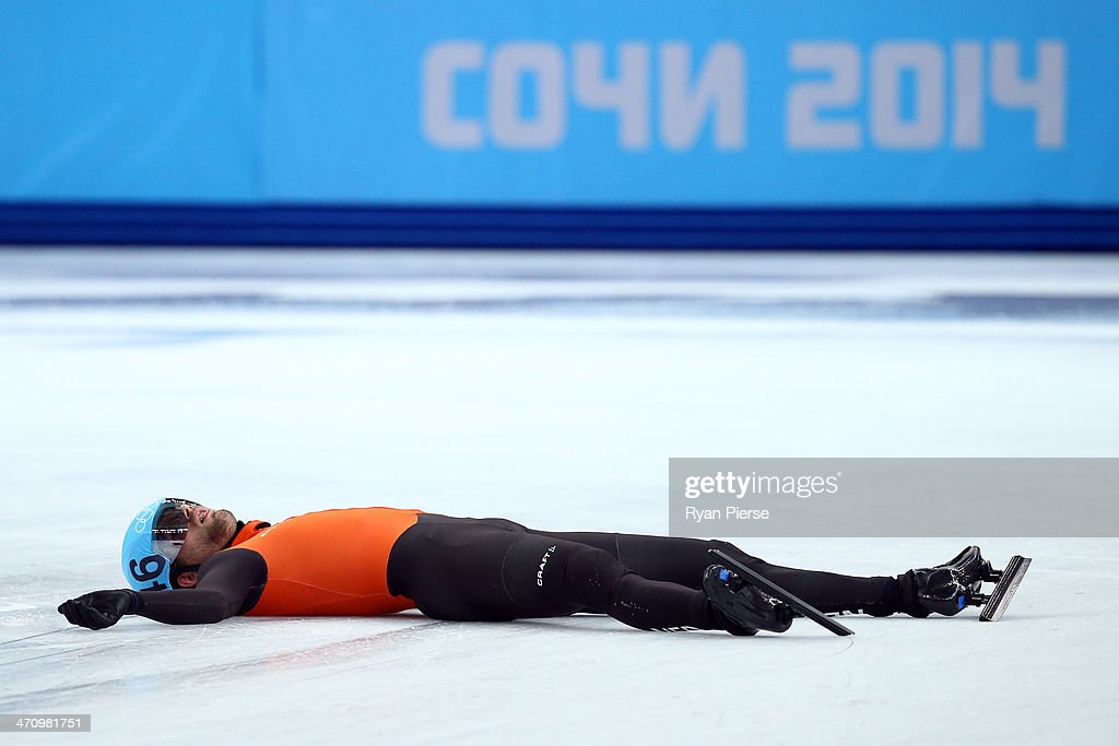 Daan Breeuwsma of the Netherlands looks dejected after in the Short Track Men's 5000m Relay on day fourteen of the 2014 Sochi Winter Olympics at Iceberg Skating Palace on February 21, 2014 in Sochi, Russia.