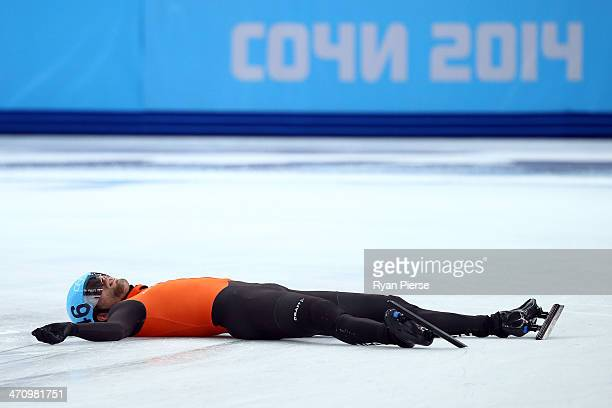 Daan Breeuwsma of the Netherlands looks dejected after in the Short Track Men's 5000m Relay on day fourteen of the 2014 Sochi Winter Olympics at...