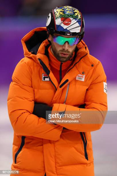 Daan Breeuwsma of the Netherlands looks on during the Men's Short Track Speed Skating 500m Heats on day eleven of the PyeongChang 2018 Winter Olympic...