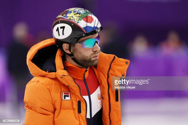 Daan Breeuwsma of the Netherlands looks on during the Short Track Speed Skating Men's 500m Semifinal 1 on day thirteen of the PyeongChang 2018 Winter...