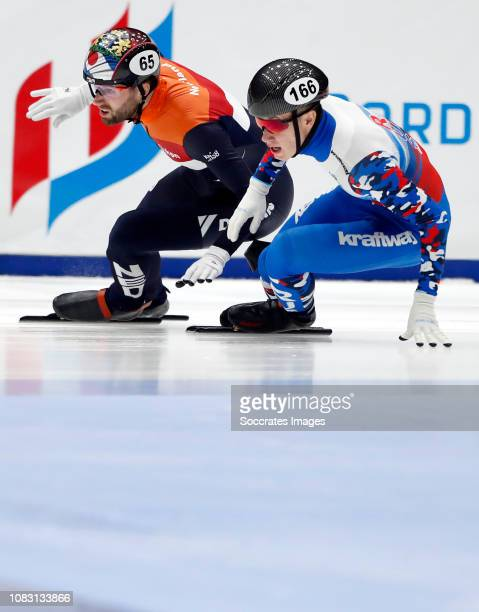 Daan Breeuwsma of The Netherlands Pavel Sitnikov of Russia during the ISU European Championship Shorttrack at the Sportboulevard Dordrecht on January...
