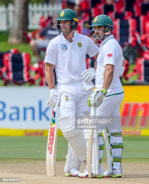 Daan Elgar and AB de Villiers of South Africa in partnership during day 4 of the 2nd Sunfoil Test match between South Africa and India at SuperSport...