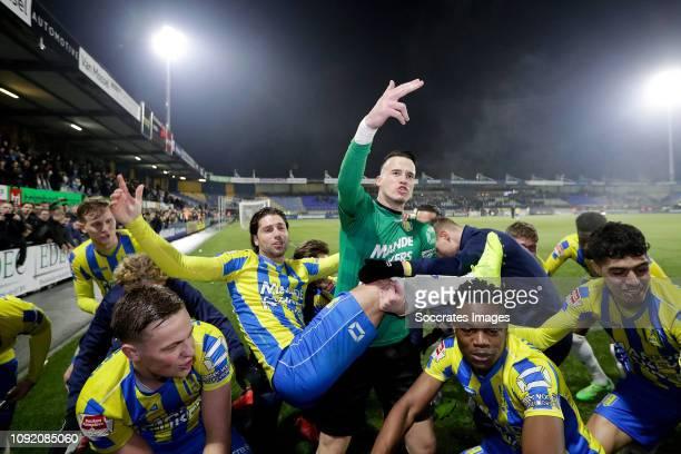 Daan Rienstra of RKC Waalwijk, Etienne Vaessen of RKC Waalwijk, Gigli Ndefe of RKC Waalwijk celebrates the victory during the Dutch Keuken Kampioen...