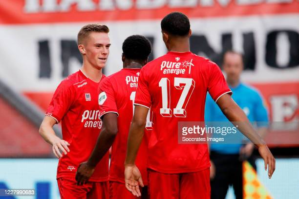 Daan Rots of FC Twente celebrates 2-0 with Jayden Oosterwolde of FC Twente during the Club Friendly match between Fc Twente v Fortuna Sittard at the...