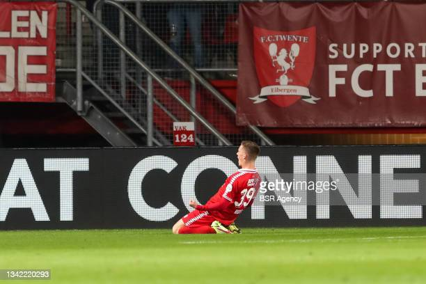 Daan Rots of FC Twente celebrates after scoring his sides second goal during the Dutch Eredivisie match between FC Twente and AZ at De Grolsch Veste...