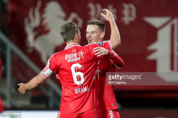 Daan Rots of FC Twente celebrates with Wout Brama of FC Twente after scoring his sides second goal during the Dutch Eredivisie match between FC...