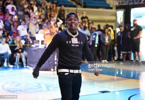 DaBaby performs at halftime during the Monster Energy $50K Charity Challenge Celebrity Basketball Game at UCLA's Pauley Pavilion on July 08 2019 in...