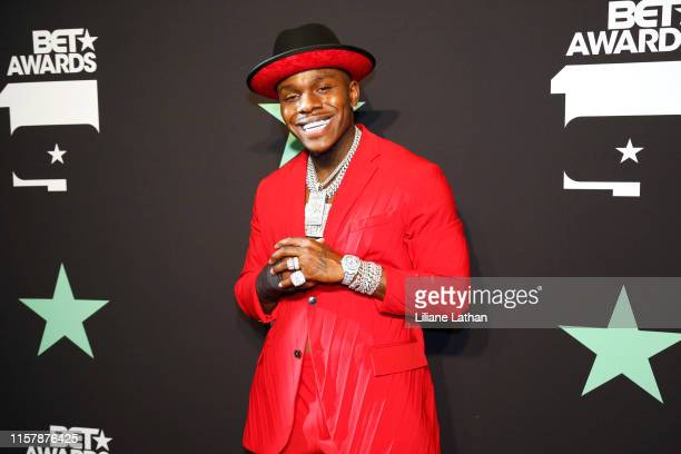 DaBaby poses in the press room at the 2019 BET Awards at Microsoft Theater on June 23 2019 in Los Angeles California