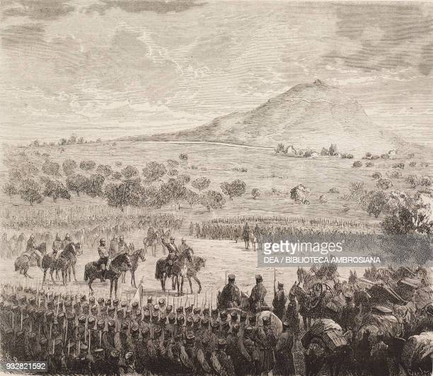 Daban brigade, commanded by General Arsenio Martinez Campos, saluting King Alfonso XII in Sagunto, Valencia, Spain, December 29 illustration from La...