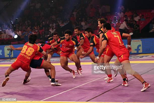 Dabang Delhi and Bengaluru Bulls team players in action during the Pro Kabaddi league matches at Sawai Mansingh Indoor Stadium in Jaipur India 27...