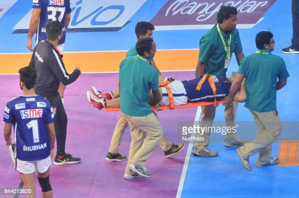 Dabang Delhi Captain Meraj Sheykh Injured during Bengal Warriors vs Dabang Delhi at the PRO KABADDI on September 072017 in Kolkata Netaji Indoor...