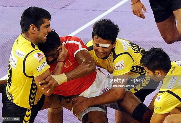 Dabang Delhi Vs Telugu Titans match in Pro Kabaddi season 4 at Netaji Indoor Stadium on July 19 2016 in Kolkata India