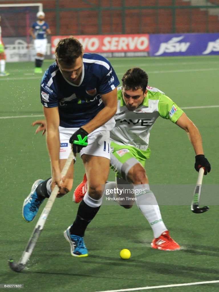 Dabang Mumbai and Delhi Waveriders players in action during semifinal match of Coal India Hockey India League 2017 at Hockey Stadium Sector 42 on...