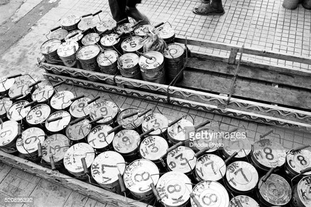 Dabbawalas tiffin boxes at Churchgate, Mumbai, Maharashtra, India, Asia 1989