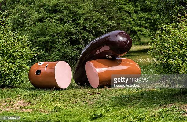 'Dabei sein ist Alles ' by artist Kati Heck, in the Kurpark, Bad Homburg, Germany, 31 May 2015, on inauguration day of Blickachsen 10, the Sculpture...