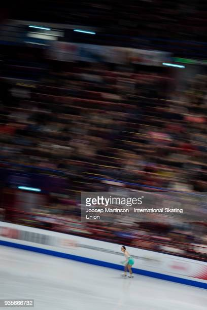 Dabin Choi of Korea competes in the Ladies Short Program during day one of the World Figure Skating Championships at Mediolanum Forum on March 21...