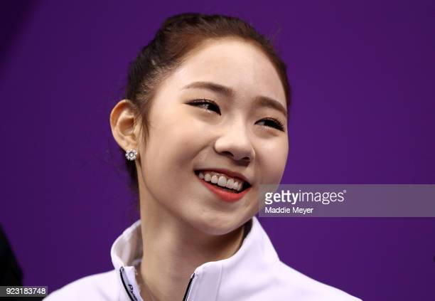Dabin Choi of Korea reacts after competing during the Ladies Single Skating Free Skating on day fourteen of the PyeongChang 2018 Winter Olympic Games...