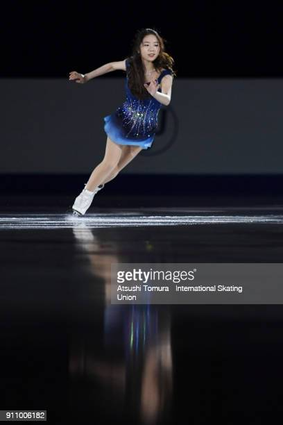 Dabin Choi of South Korea performs her routine in the exhibition during day four of the Four Continents Figure Skating Championships at Taipei Arena...