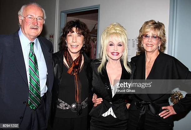 Dabney Coleman Lily Tomlin Dolly Parton and Jane Fonda pose backstage at The Opening Night of Dolly Parton's 9 to 5 at The Ahmanson Theater on...