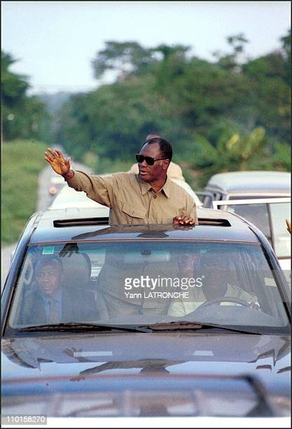 Dabou Republican gathering President Alassane Ouattara on presidential tour in Dabou Cote d'Ivoire on August 25 2000