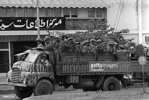 Dacca East Pakistan 19th December 1971 Indian troops in a heavilycamouflaged lorry arrive at Dacca in East Pakistan during the IndiaPakistan War