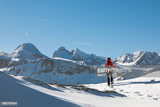 dachstein mountains panorama snowshoeing, austria - ski holiday stock photos and pictures
