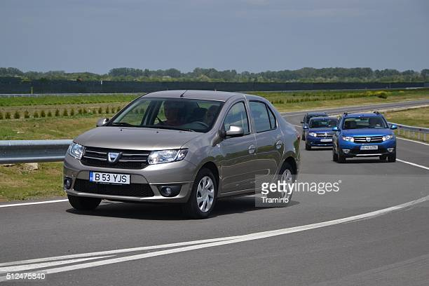 Dacia cars on the test track