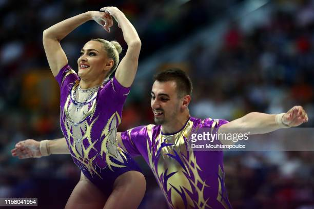 Dacian Nicolae Barna and Andreea Bogati of Romania compete during the Aerobic Gymnastics Mixed Pairs Final during Day 4 of the 2nd European Games at...