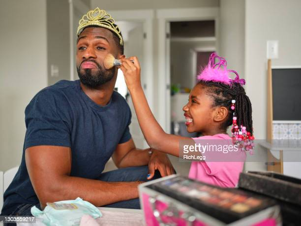 dad and daughter playtime dress-up and putting on makeup - stay at home father stock pictures, royalty-free photos & images