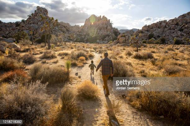 a dad and his son hiking a scenic trail in the desert. - california stock pictures, royalty-free photos & images